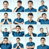 Set of young man`s portraits with different emotions and gesture Royalty Free Stock Photo
