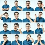 Set of young man`s portraits with different emotions and gesture Royalty Free Stock Images