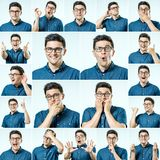 Set of young man`s portraits with different emotions and gesture Stock Photos