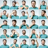 Set of young man`s portraits with different emotions Stock Images