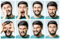 Set of young man`s portraits with different emotions Stock Photography