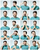 Set of young man`s portraits with different emotions Royalty Free Stock Image