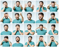 Set of young man`s portraits with different emotions Royalty Free Stock Photos