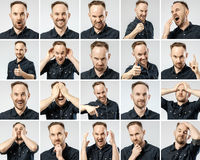 Set of young man`s portraits with different emotions. And gestures isolated Stock Photos