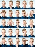Set of young man`s portraits with different emotions and gesture Stock Photography