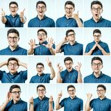 Set of young man`s portraits with different emotions and gesture Royalty Free Stock Photos