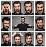 Set of young man's portraits with different Stock Photo