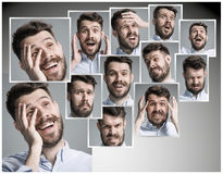 Set of young man's portraits with different emotions Royalty Free Stock Photography