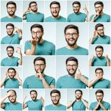 Set of young man`s portraits with different emotions Stock Photos