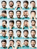 Set of young man`s portraits with different emotions Royalty Free Stock Images