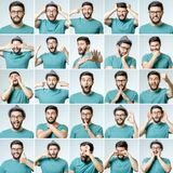 Set of young man`s portraits with different emotions. And gestures isolated Royalty Free Stock Photo