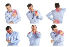 Set with young man suffering from pain in different parts of body royalty free stock photos