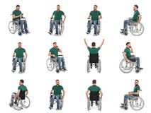 Set of young man in wheelchair royalty free stock images