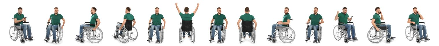 Set of young man in wheelchair on white. Banner design stock images