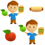 Set of young men with apple and hamburger choice. Vector illustration Royalty Free Stock Photo