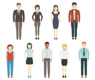Set of young men and women wearing office clothes Stock Photos
