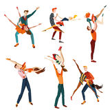 Set of young people dancing Stock Photo