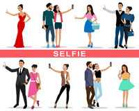 Set of young people and fashion couples making selfie Royalty Free Stock Photos