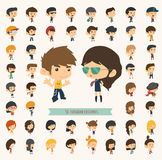 Set of 50 young people with hipster fashion style royalty free illustration