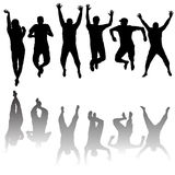 Set of young people silhouettes jumping Stock Image