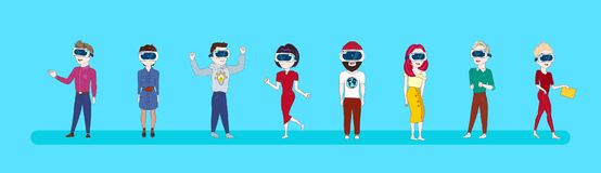 Set Of Young People Wearing 3d Virtual Reality Glasses Modern Vr Technology Concept. Flat Vector Illustration Royalty Free Stock Image