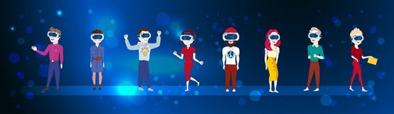 Set Of Young People Wearing 3d Virtual Reality Glasses OVer Abstract Futuristic Background Modern Vr Technology Concept. Flat Vector Illustration Royalty Free Stock Images
