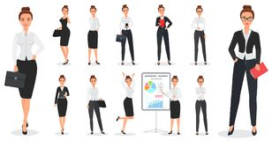 Set of young pretty business woman character design in various poses. vector illustration