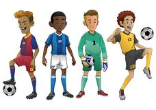 Set of young soccer players. Vector set of young soccer players Royalty Free Stock Image