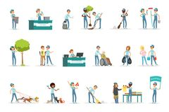 Set of young volunteers helping people. Set of young volunteers gardening, cleaning garbage, helping old and homeless people. Social support activities. Cartoon stock illustration
