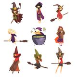 Flat vector set of young witches in different actions. Flying on brooms, cooking potion and posing. Girls in cone hats. Set of young witches in different actions royalty free illustration
