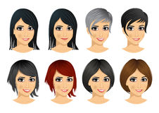 set of young woman avatar with different hairstyles vector illustration