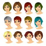 set of young woman avatar with different hairstyles Royalty Free Stock Photos