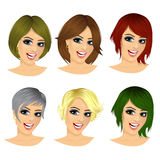 set of young woman avatar with different hairstyles Stock Images