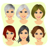 set of young woman avatar with different hairstyles Royalty Free Stock Images