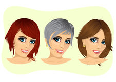set of young woman avatar with different hairstyles. Set of young woman avatar with different hairstyles  on white background Stock Image