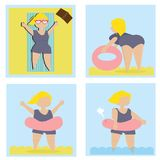 Set with young woman on the beach. royalty free illustration