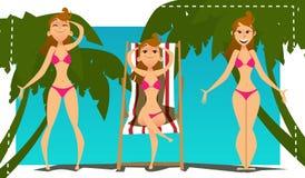 Set of young woman in bikini. Royalty Free Stock Image