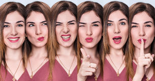 Set of young woman with different expressions. Set of young woman with different expressions over blue background Royalty Free Stock Photos