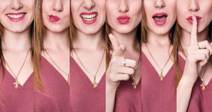 Set of young woman with different expressions. Royalty Free Stock Photography