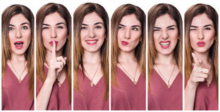 Set of young woman with different expressions. Set of young woman with different expressions over white background Stock Images