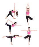 Set of young woman doing yoga exercise isolated on white Stock Photos