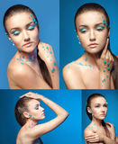 Set of young woman nude portraits with Stock Photography