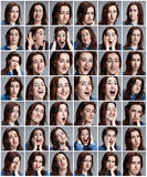Set of young woman's portraits with different emotions. On gray background Stock Photography