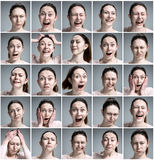 Set of young woman's portraits with different emotions. On gray background Stock Photos