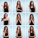 Set of young woman's portraits with different emotions stock photography
