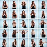 Set of young woman's portraits with different emotions. On gray background Stock Image