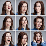 Set of young woman's portraits with different emotions. On gray background Royalty Free Stock Photo