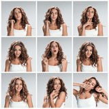 Set of young woman's portraits with different happy emotions Stock Photography