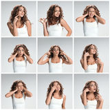 Set of young woman's portraits with different happy emotions Royalty Free Stock Photo