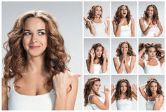 Set of young woman's portraits with different happy emotions Royalty Free Stock Image